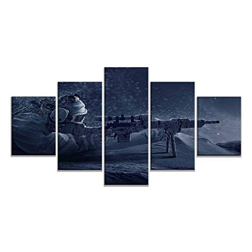OfinaBiz Six Siege Sniper Modern Wall Decor 5 Piece Painting HD Canvas Decorative Painting Home Sofa Background Decor Restaurant Poster Total 150 Cm X 80 Cm (Ofi927)
