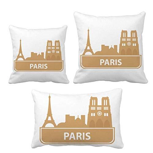 DIYthinker Paris - Juego de fundas de cojín, diseño de París, color amarillo