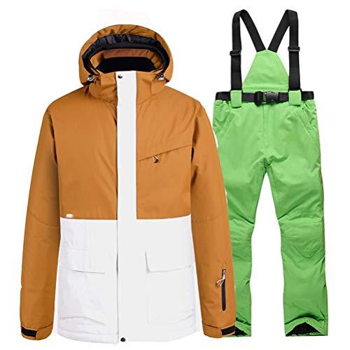 Hbao Herren- und Damen-Skijacke + Träger, Schneehosen, Lätzchen, Schneeanzug, Skianzug, wasserdichte Kleidung, Winter-Outdoor-Kleidung (Color : Green, Size : Medium)