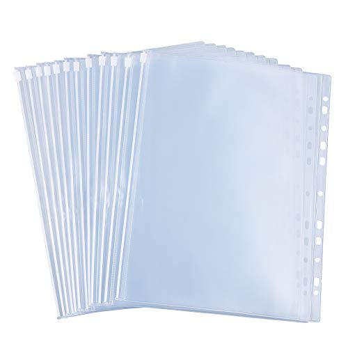 Antner 12PCS Binder Pockets A4 Size 11 Holes Zipper Binder Pouch Bags Waterproof Loose Leaf Bags Document Filing Sleeves Fits for Most Ring Binders and Folders