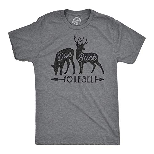 Mens Doe Buck Yourself Tshirt Funny Deer Hunting Tee (Dark Heather Grey) - M