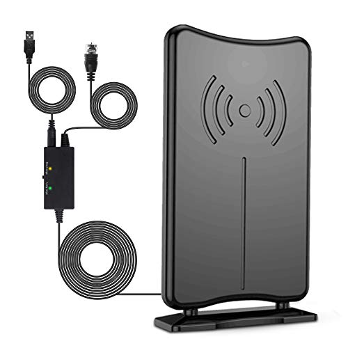Amplified HD Indoor Outdoor Digital TV Antenna, 180+ Mile Range, Support 4K 1080P HD UHF VHF for Local Channel, 16.5ft of Coax Cable