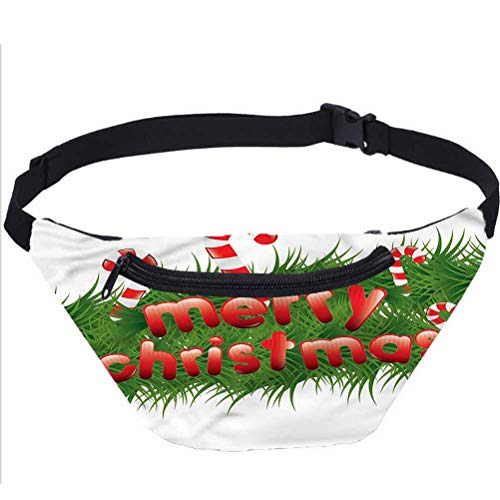 Christmas Fanny Pack Bag,Candy Canes Garland Running Travel Sports Bags