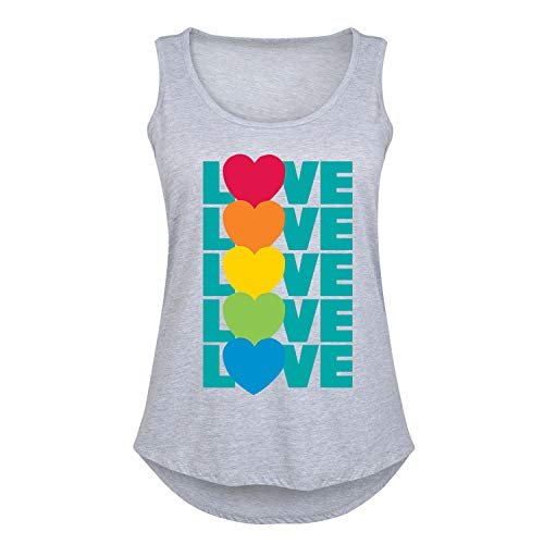 LGBT Love Hearts Stacked - Women's Plus Size Tank Top Athletic Heather
