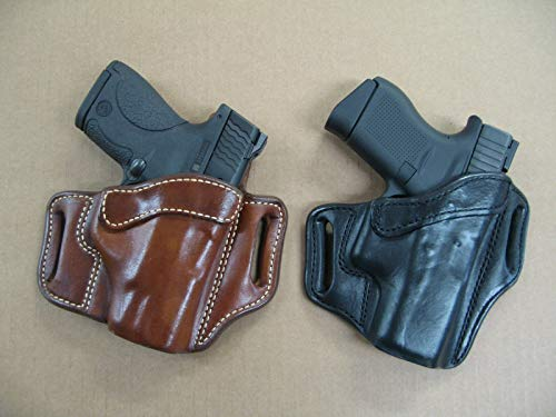 Azula Leather 2 Slot Molded Pancake Belt Holster for S&W Shield with Laser 9mm .40 OWB TAN Right Hand