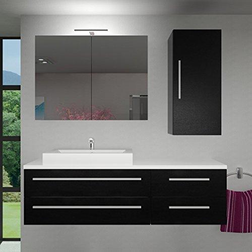 Badmöbel Set City 210 V2 Esche schwarz, Badezimmermöbel, Waschtisch 160cm, Beleuchtung Spiegelschrank:mit 1 x 5W LED-Strahler +30.-EUR