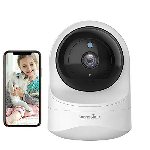 Wansview Caméra Surveillance WiFi 1080P, Caméra IP WiFi sans Fil Caméra Dôme avec Vision Nocturne, Détection de Mouvement, Audio Bidirectionnel, Pan/Tilt pour Bébé/Animal- Q6 (Blanche)