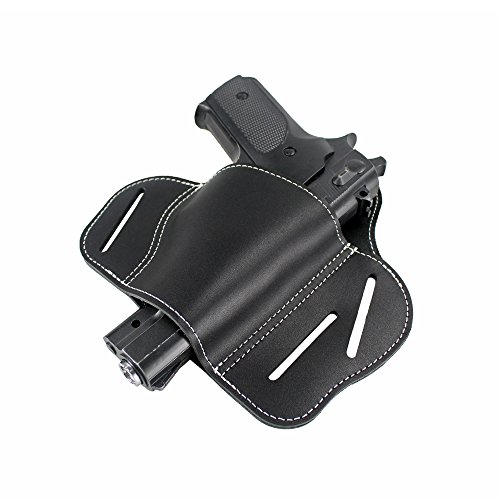 LIVIQILY Leather Gun Holster Ultimate 3 Slot Pancake OWB Leather Gun Belt Holster Fits S&W Shield Springfield XD Right Hand