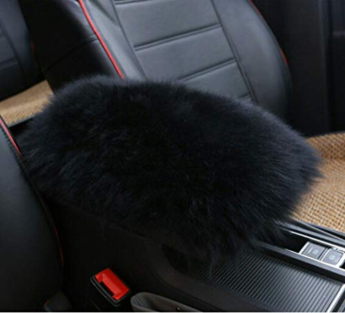 Forala Auto Center Console Pad Furry Sheepskin Wool Car Armrest Seat Box Cover Protector Universal Fit (W-Black)