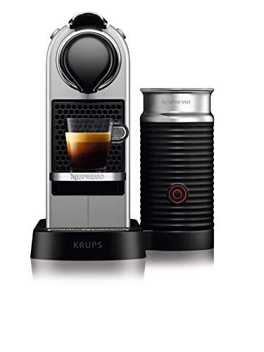 Krups Nespresso CitiZ&Milk XN761B - Cafetera Monodosis Cápsulas, 19 bares, Depósito Agua 1 L, Apagado Automático, Acero, con Aeroccino