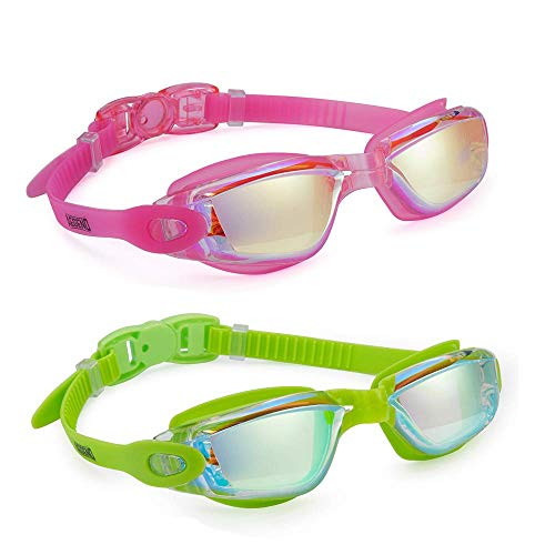 Aegend Pack of 2(Pink Mirrored Lenses&Green Mirrored Lenses)Triathlon-Schwimmbrille, verspiegelt, dicht, Anti-Beschlag-Schutz, UV-Schutz, inklusive Schutzhülle, für Damen, Herren, Jugendliche, Kinder