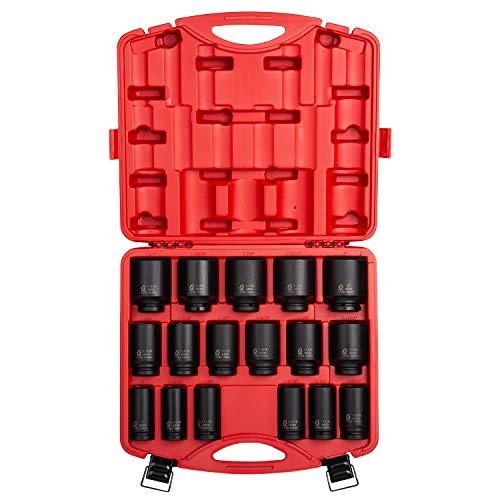 "Sunex 4685, 3/4 Inch Drive Deep Impact Socket Set, 17-Piece, SAE, 1""-2"", Cr-Mo Steel, Radius Corner Design, Dual Size Markings, Heavy Duty Storage Case"