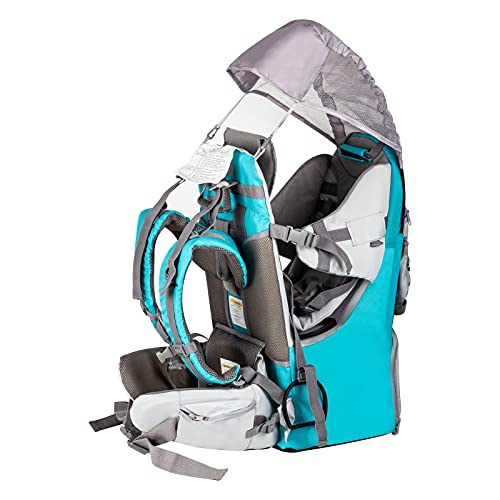 Baby Backpack Carrier, Safe Toddler Hiking Backpack Carrier Camping Child Carriers with Rain Cover Child Kid Sun Shade Large Storage Insulated Pocket, Adjustable Padded Child Seat (Green-Blue)