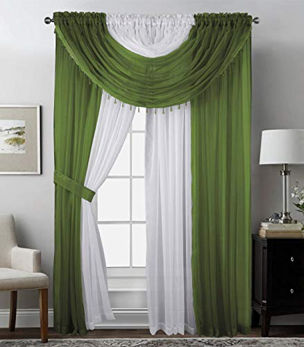 Complete Window Sheer Curtain Panel Set with 4 Attached Panels (55x84 Each) and 2 Valances with Beads and 2 Tiebacks - Easy Installation- Multicolor Sage/Olive Green