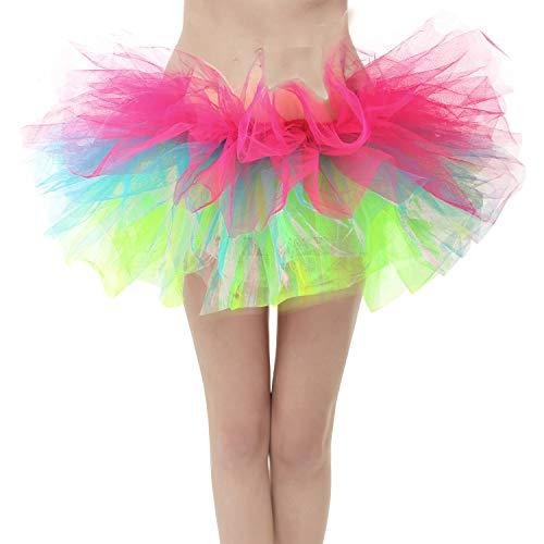 GirstunmBrand Damen 50er Mini Tüll Tutu Puffy Ballett Bubble Rock Regenbogen-Standard Size