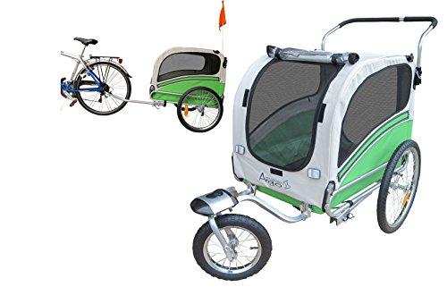 Polironeshop Argo - Remolque y carrito para bicicleta para el transporte de perros, VERDE, Medium