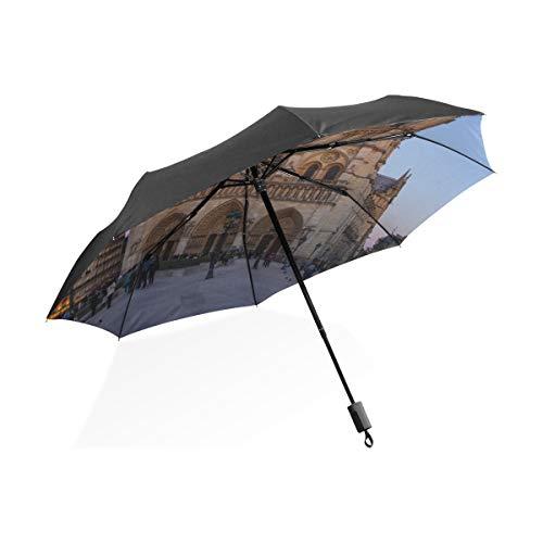 Regenschirm Jugend Notre Dame De Paris im Sonnenuntergang Tragbare kompakte klappbare Regenschirm Anti-UV-Schutz Winddichte Outdoor-Reisen Frauen Totes Golf Regenschirm
