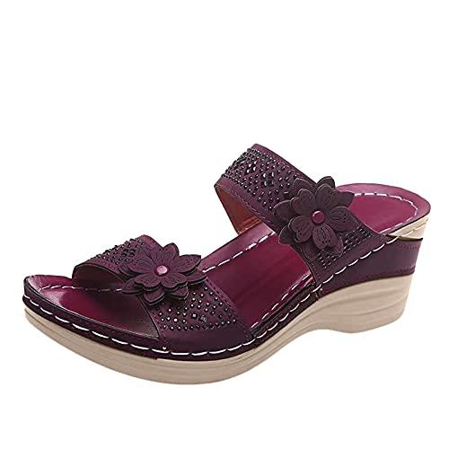 GEU - Sandalias de moda para mujer, sandalias de playa de verano con plataforma abierta, ortopédicas de alta calidad