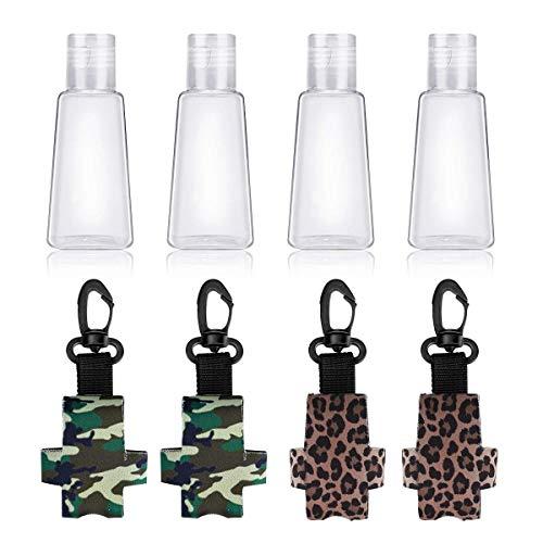 Ertisa Set de Botellas de Viaje, 4Pcs 30ML Botellas de Plástico Vacías Tapas Superiores Abatibles Portátiles Recargables Tamaño de Viaje Artículos de Botella Contenedor de Líquido con 4Pcs Llaveros