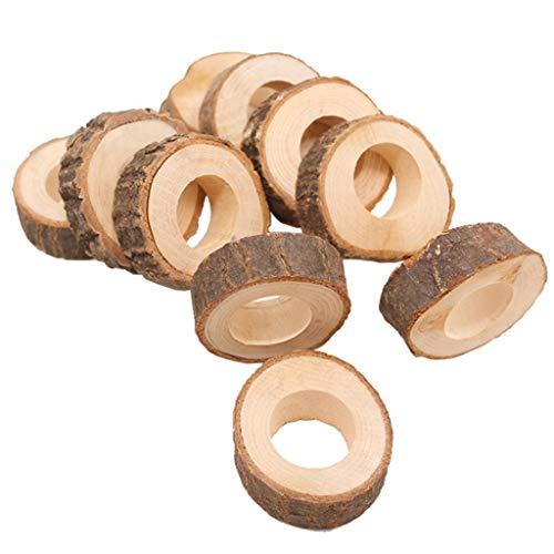Rongzou houten hanger - 10 stks DIY natuurlijke houten onafgewerkte cirkel servet ring voor het maken van tafel bruiloft