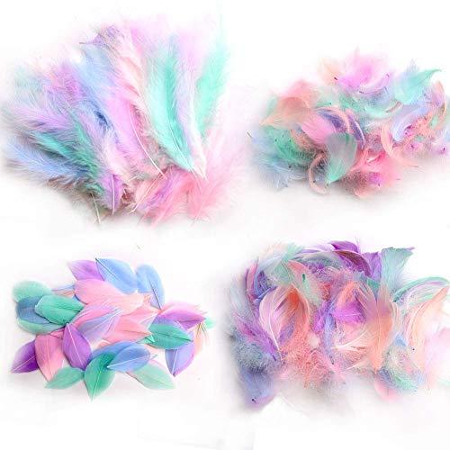 Plumas para manualidades artísticas,300 piezas de plumas de ganso natural con purpurina suave para bricolaje, atrapasueños,manualidades,decoración para el hogar,fiestas,centros de mesa
