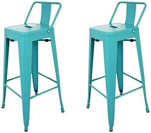 La Silla Española - Pack 2 Taburetes estilo Tolix con respaldo. Color Turquesa. Medidas 95x44,5x44,5