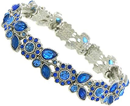 1928 Jewelry Silver Manufacturer direct delivery 70% OFF Outlet Tone Sapphire Blue Color Peta Flower Crystal