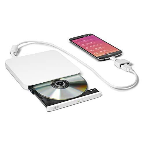 Hitachi-LG GP95NW70 Externer Portabler DVD-Brenner mit stilvollem Design, USB 2.0, DVD+/-R, CD-R, DVD-RAM Kompatibel, TV-Anschluss, Windows 10 & Mac OS Kompatibel, Weiß