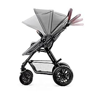 Kinderkraft Kinderwagen 3 in 1 MOOV, Kinderwagenset, Sportwagen, Buggy, Babyschale, Große Räder, Luftreifen Hohe, Verarbeitungsqualität, Bequemer, Grau