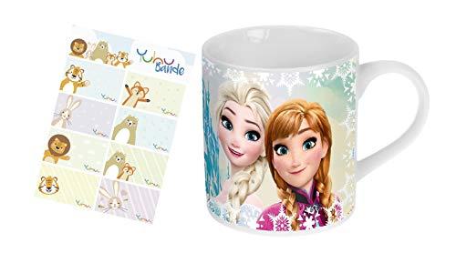 Frozen - Die Eiskönigin Tasse Elsa und Anna Kinder-Becher im Geschenkkarton mit Yuhu Bande Namens-Aufkleber Sticker