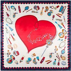 YDMZMS 90x90 cm imitatie zijden sjaal sjaal mode vrouwen Big Red Love hart schilderij halsdoek Bandana Large vierkante hoofddoek