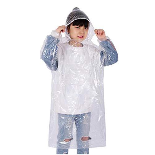Mehrfarbig Einweg PE Regenponcho mit Kaputze, Eltern-Kind Erwachsene Kinder Wasserdicht Regen Poncho Hooded Regenjacken Transparent Regencape Regenmäntel Notfall für Outdoor Wandern Camping