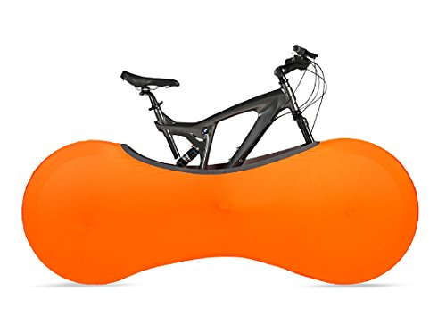 Funda cubre bicicletas para interiores – ORANGE – La mejor solución para mantener los suelos y las paredes LIBRES DE SUCIEDAD – Sirve para el 99% de las bicicletas para ADULTOS