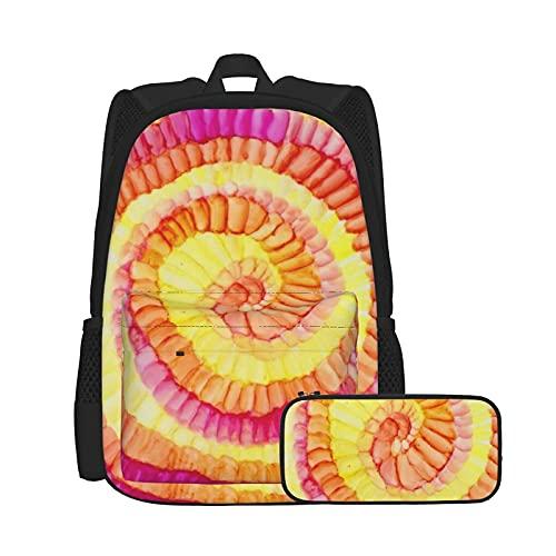 Conjunto de mochila y estuche para lápices, bolsa para ordenador portátil y estuche combinación, mochila de trabajo y estudio y bolsa de cosméticos combinación colorido amarillo naranja rosa Pinwheel