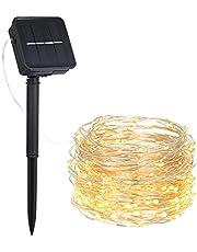 Fesjoy Dize Işık, 3W 5M/16,4Ft 50 LED Güneş Enerjili Enerji Bakır Tel Peri Şerit Işık Çim Lambası 8 Farklı Aydınlatma Modu Efekti Esnek Bükülebilir Bükülebilir IP65 Suya Dayanıklı Sıcak