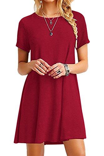 YMING Damen Sommer Mini Kleid Casual Kurzarm Tunika Rundhals Basic Blusenkeid,Rot,S/DE 36
