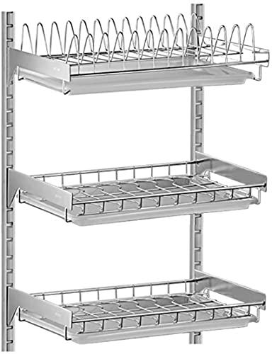 Kökshylla, 3 lager rostfritt stål 304 rostfritt stål väggmonterad diskmaskin med 42 * 26,5 * 60 Cm avloppsbricka.