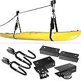 Elevador de kayak, Almacenamiento multifunción para kayak en el techo del garaje, Organizador de polea para colgar en el techo para tabla de remo, tabla de nieve, canoa, bicicleta-Capacidad de 125 lb
