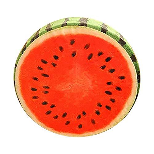 Amesii - Morbido cuscino rotondo felpato a forma di frutta: arancia, kiwi, anguria, cuscinetto per sedie o per giocare 1