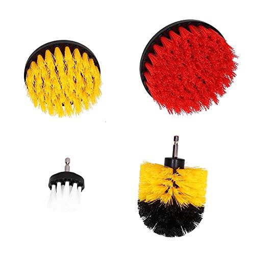 Kit de cepillo de taladro, accesorio de cepillo de taladro No es fácil de cepillar Cerdas caídas 4 piezas para baldosas de piscina de piso de pared
