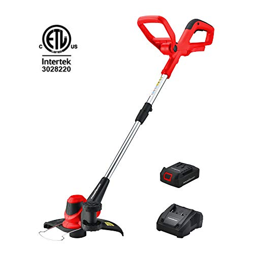PowerSmart Cordless String Trimmer and Edger with Easy Auto Feed, 20V 8200RPM Grass Trimmer, Battery Operated Weed Eater, Electric Weed Wacker, Battery & Charger Included - PS76110A