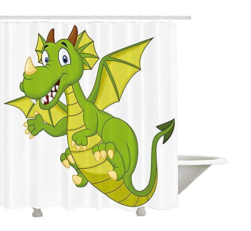Yeuss Boy Chambre de rideau de douche en, Cute Funny personnage de conte de fées bébé dragon Dessin animé Fantasy Animal, tissu de salle de bain Décor avec ensemble de crochets, Vert citron vert pomme 152,4 x 182,9 cm, 72\