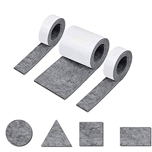 Heatigo Filzgleiter Selbstklebend filz selbstklebend Schwarz 3 Rollen Filzband für Stühle,DIY,Möbelgleiter,Bodenschutz(100 * 10cm+2 Rollen 100 * 2cm)