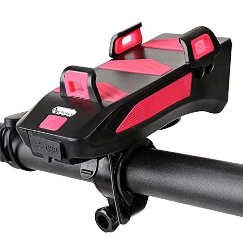 WYJW Luz Delantera para Bicicleta, Soporte para teléfono móvil para Bicicleta, luz para Bicicleta con bocina y Cargador, Faro Delantero 4 en 1 para Manillar con 3 Modos de iluminación y