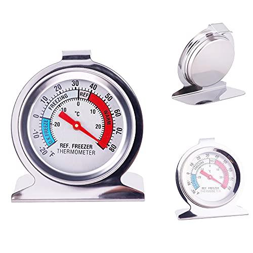 LTXDJ - Frigorífico con termómetro para congelador y horno con termómetro, regulador de temperatura, esfera de vigilancia de acero inoxidable con gancho de suspensión y soporte para 2 paquetes