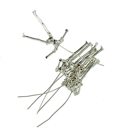 6 Stücke Neuheit Kreative Menschliches Skelett Körper DIY Puppen Anhänger - Tibetanisches Silber