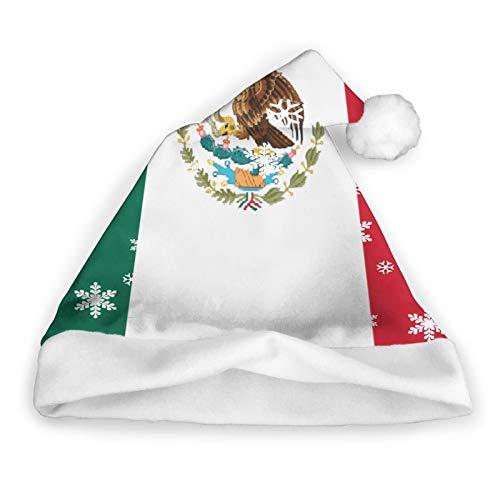 ZVEZVI Bandera Mxico Varios Sombrero de Santa, Unisex, Adorno de Piel Blanca, Sombrero de Navidad de Calidad, Sombrero de Santa Claus