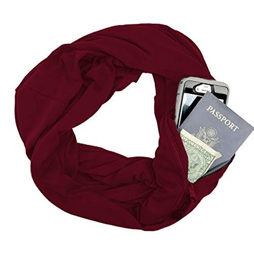 Josopa Winter Sjaal met Rits Zak, Convertible Infinity Sjaal Loop Sjaals met Rits Zakje Telefoon Tas Halsdoek Winter O Ring Sjaal voor Vrouwen Mannen