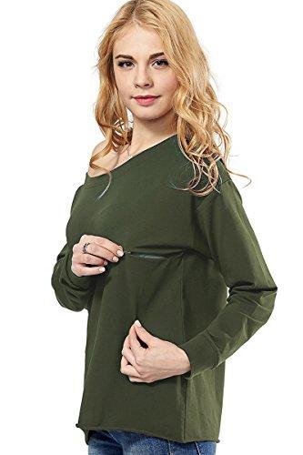 Womens Maternity Nursing Top Sweatshirt Long Sleeve Off Shoulder Zipper Pullver...
