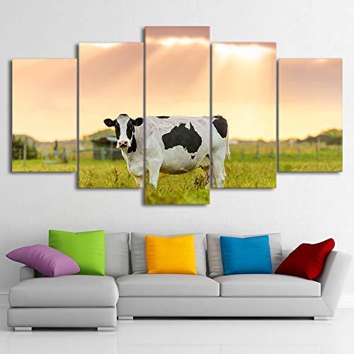 DGGDVP Cuadros enmarcados 5 Paneles Lienzo Arte de la Pared Leche Vaca Granja Puesta de Sol Pintura de Animales Cuadros de Pared Vaca imágenes artísticas tamaño 2 sin Marco